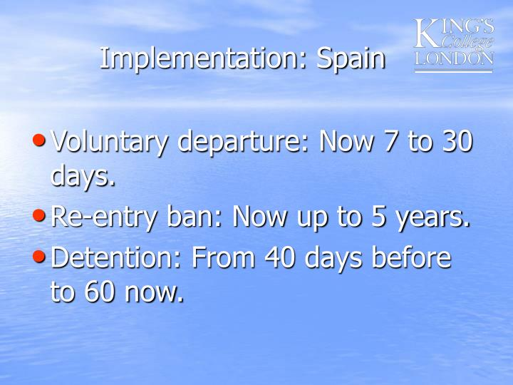 Implementation: Spain