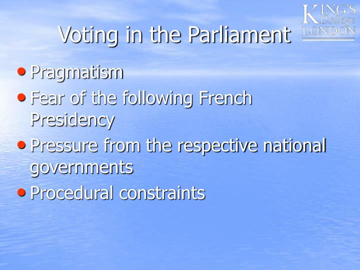 Voting in the Parliament
