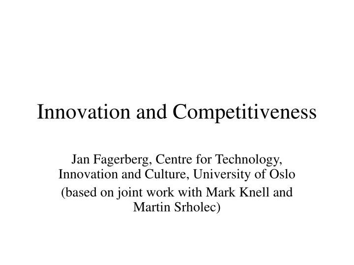 innovation and competitiveness n.