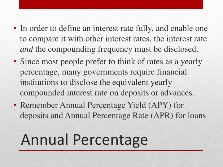 In order to define an interest rate fully, and enable one to compare it with other interest rates, the interest rate