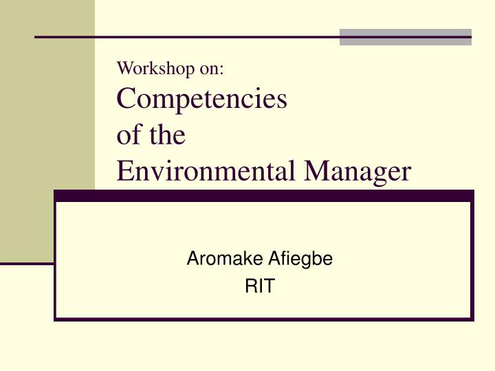 workshop on competencies of the environmental manager n.