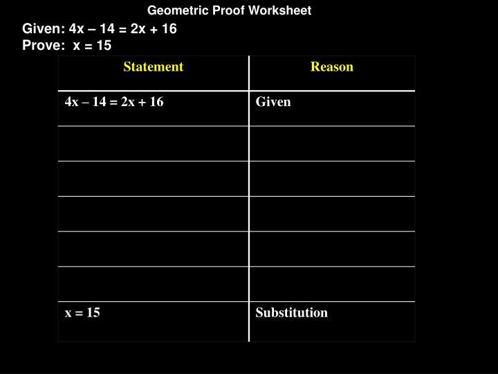 Geometric Proof Worksheet
