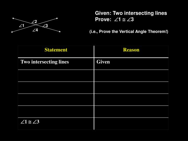 Given: Two intersecting lines