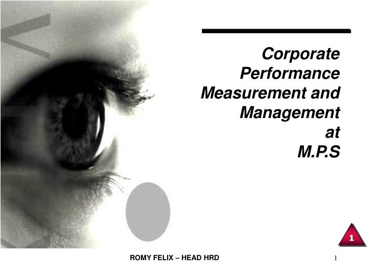 Corporate performance measurement and management at m p s