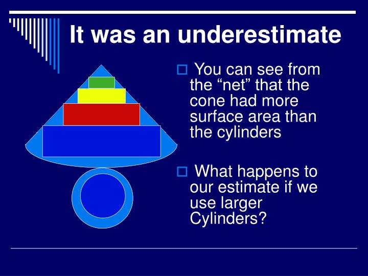 """You can see from the """"net"""" that the cone had more surface area than the cylinders"""