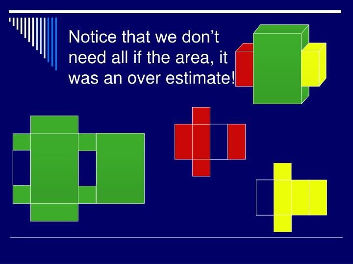 Notice that we don't need all if the area, it was an over estimate!