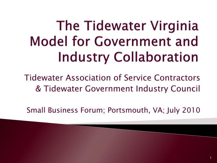 the tidewater virginia model for government and industry collaboration n.