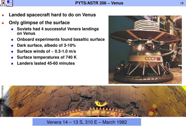 Landed spacecraft hard to do on Venus