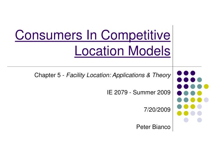 consumers in competitive location models n.
