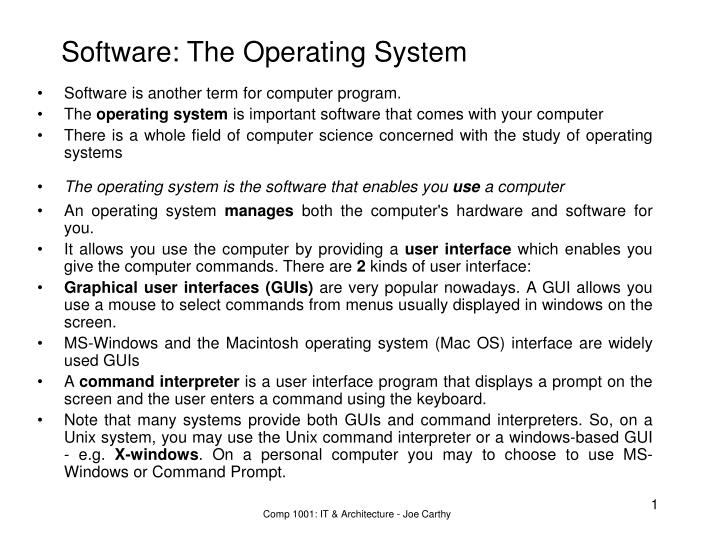 software the operating system n.