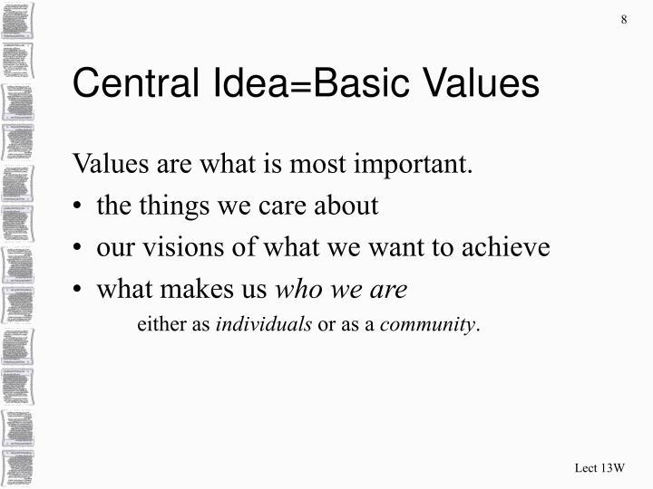 Central Idea=Basic Values