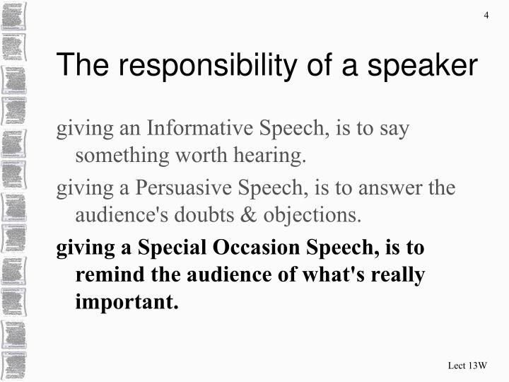The responsibility of a speaker