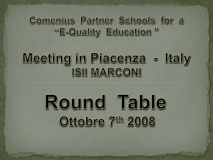 round table ottobre 7 th 2008 n.