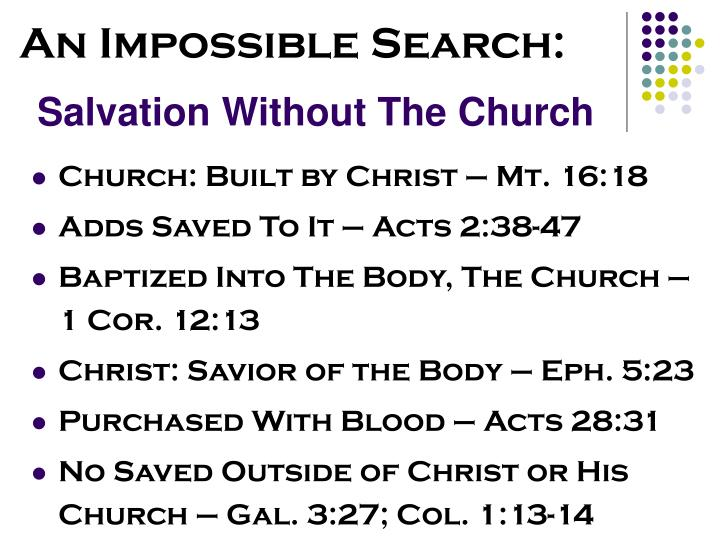 Salvation Without The Church