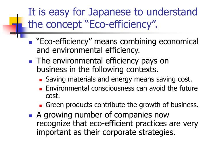"It is easy for Japanese to understand the concept ""Eco-efficiency""."