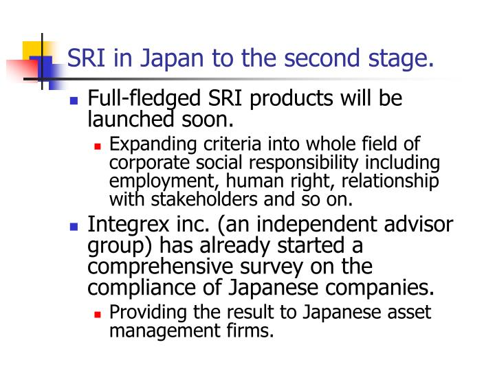 SRI in Japan to the second stage.