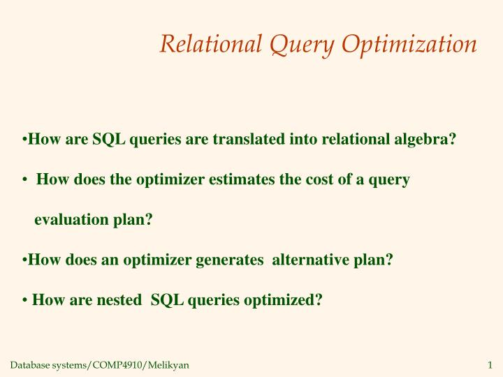 relational query optimization n.