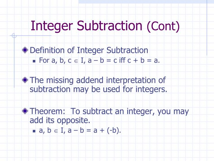 Integer Subtraction