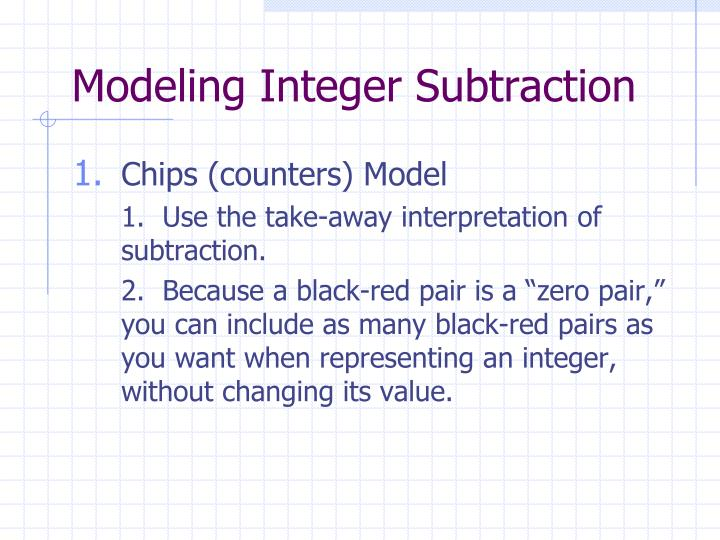 Modeling Integer Subtraction