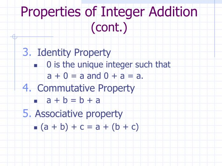Properties of Integer Addition