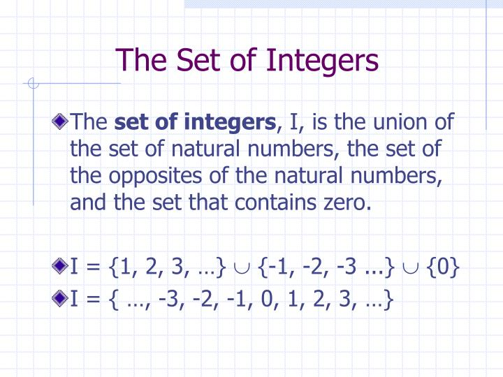The set of integers