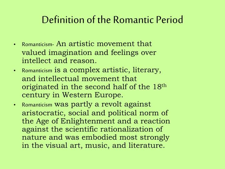 romantic period literature essay Transcendentalism and romanticism placed a huge emphasis on the individual as well as inspiration from nature romanticism was partially a reaction against realism and objective reasoning similarly, transcendentalism was a reaction against overpowering religious traditions and dogma.