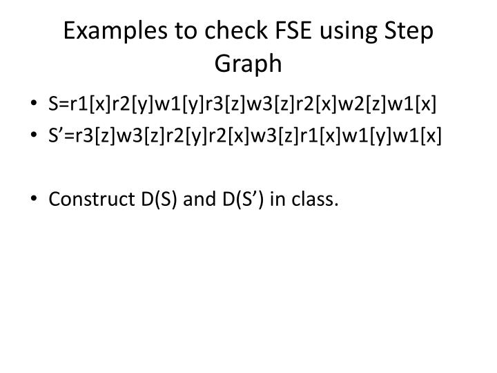 Examples to check FSE using Step Graph