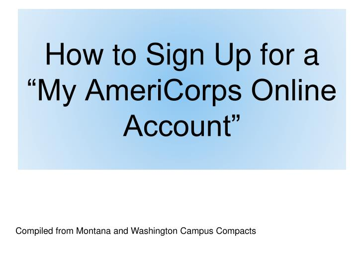 how to sign up for a my americorps online account n.