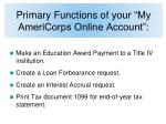 primary functions of your my americorps online account