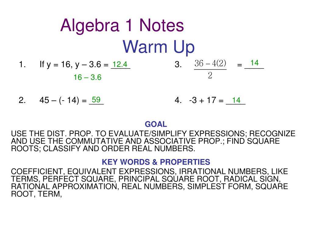 Ppt Algebra 1 Notes Powerpoint Presentation Free Download Id 1754082