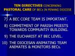 ten directives concerning pastoral care of becs in penang diocese