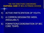 the ten directives concerning pastoral care of becs in penang diocese1