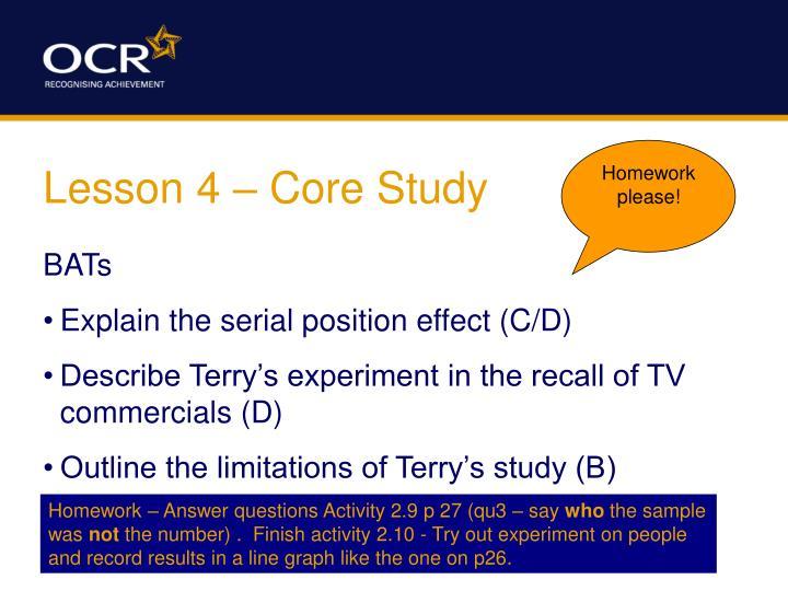 Lesson 4 core study
