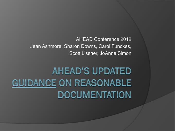 ahead conference 2012 jean ashmore sharon downs carol funckes scott lissner joanne simon n.