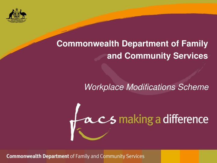 commonwealth department of family and community services n.