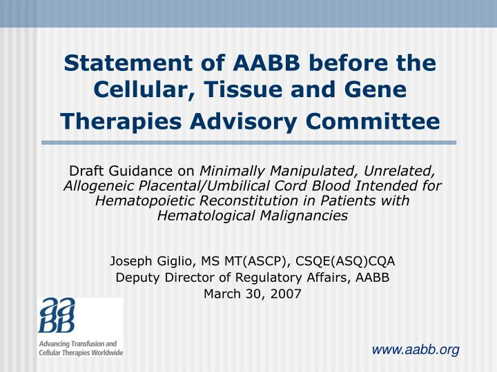 statement of aabb before the cellular tissue and gene therapies advisory committee n.