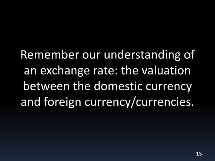 Remember our understanding of an exchange rate: the valuation between the domestic currency and foreign currency/currencies.