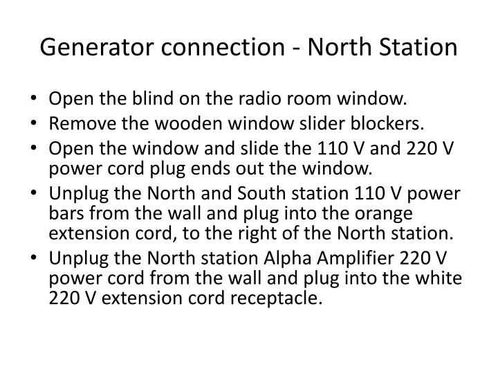 Generator connection - North Station