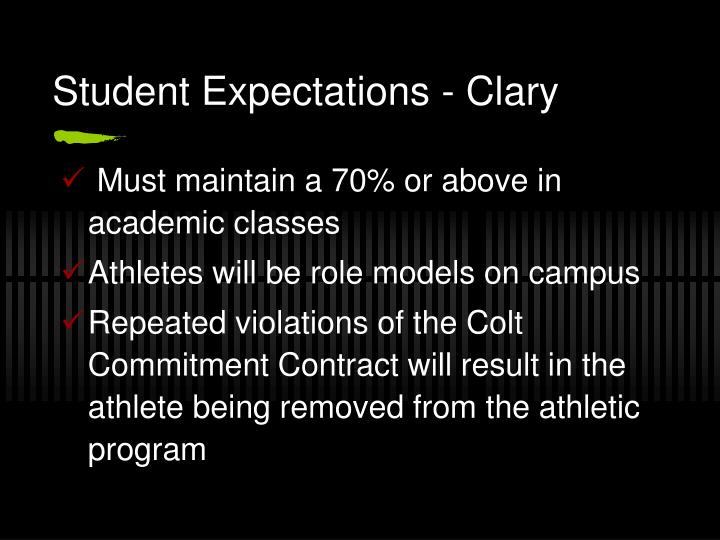 Student Expectations - Clary