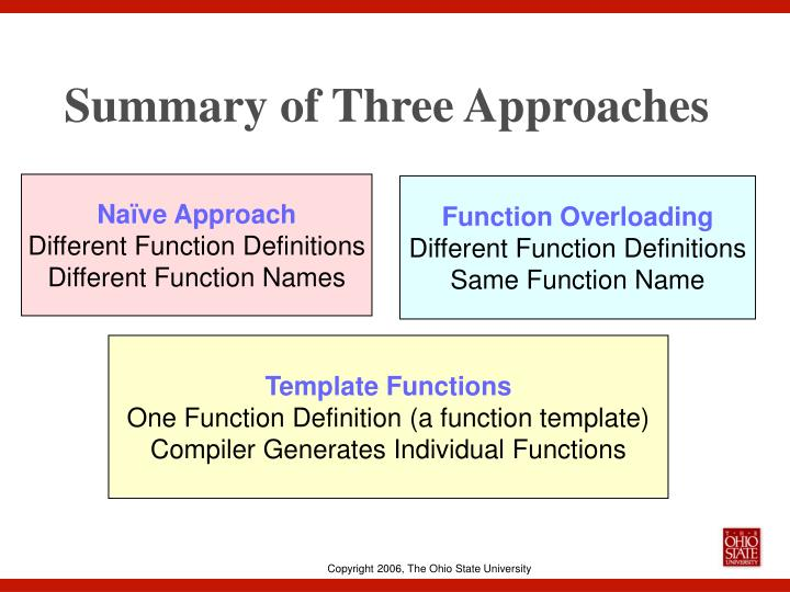 Summary of Three Approaches
