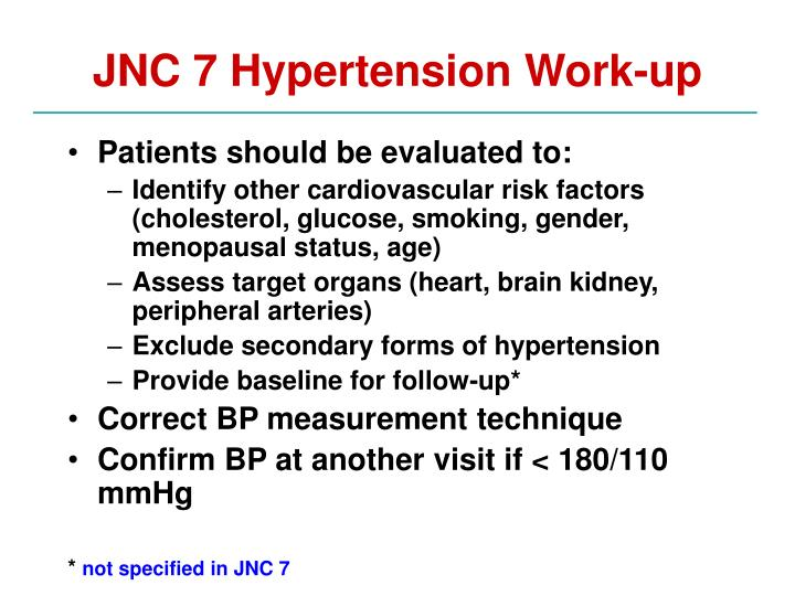 jnc 7 hypertension work up n.