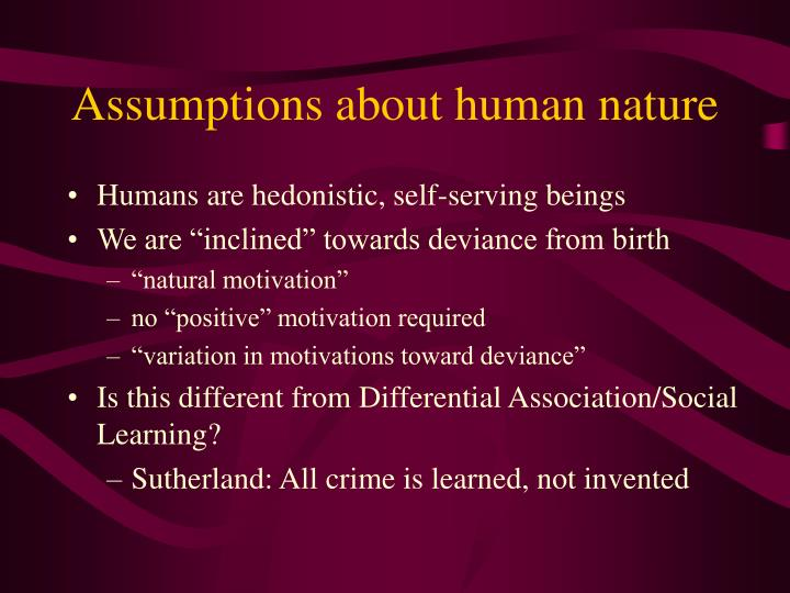 key assumptions about human nature commerce essay It's time to base economics on human nature, not homo economicus how human nature defies the  commerce and exchange served to generate  evonomics is free, it.