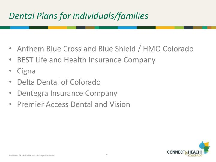 Dental Plans for individuals/families
