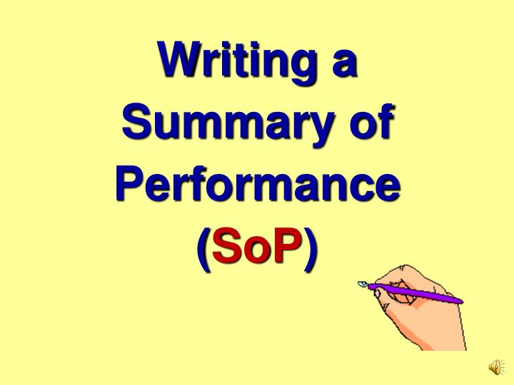 writing a summary of performance sop n.