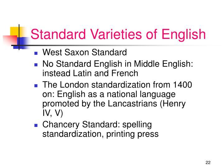 Standard Varieties of English