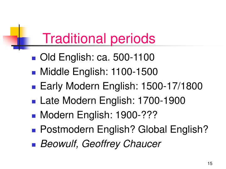 Traditional periods