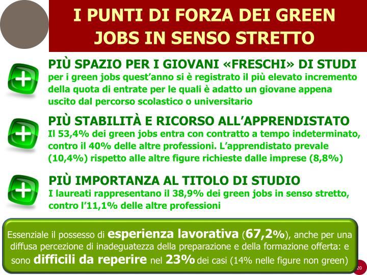 I PUNTI DI FORZA DEI GREEN JOBS IN SENSO STRETTO