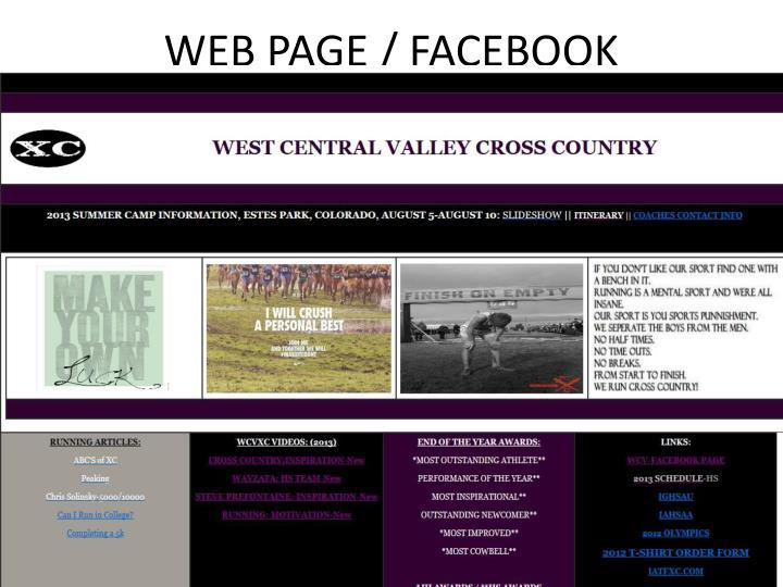 Web page facebook