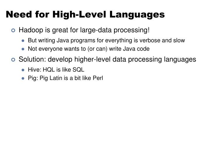 Need for High-Level Languages