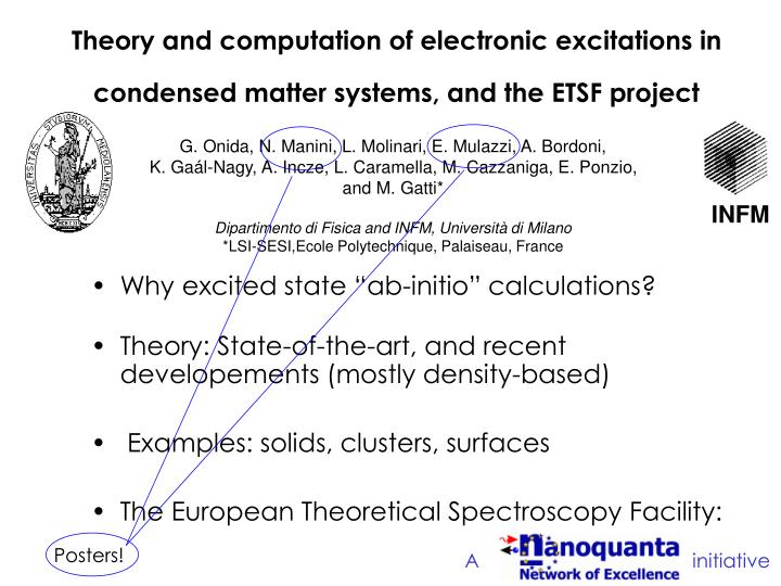 theory and computation of electronic excitations in condensed matter systems and the etsf project n.